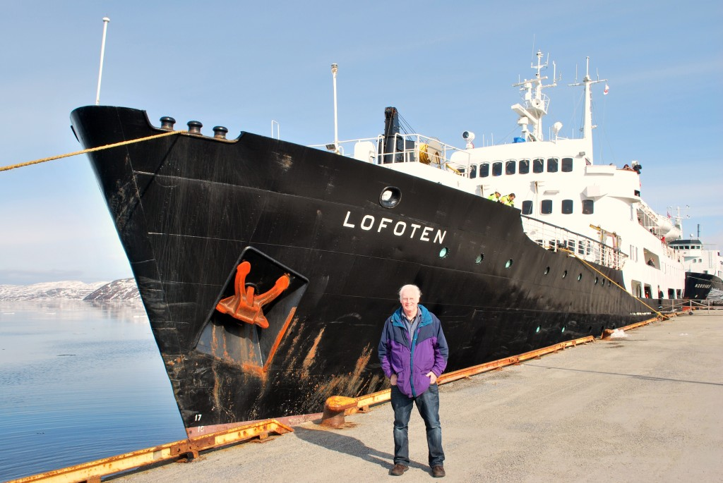 Ted at bow of Lofoten • Photo: Ted Scull