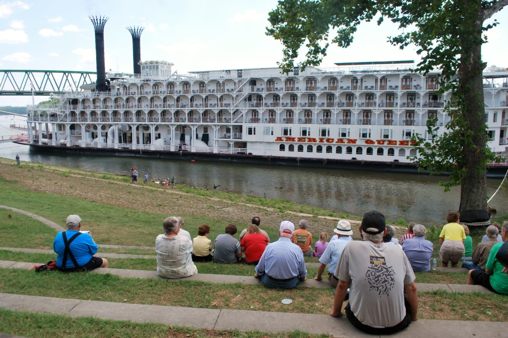 Locals come down to the river to watch the steamboat activity. * Photo: Ted Scull