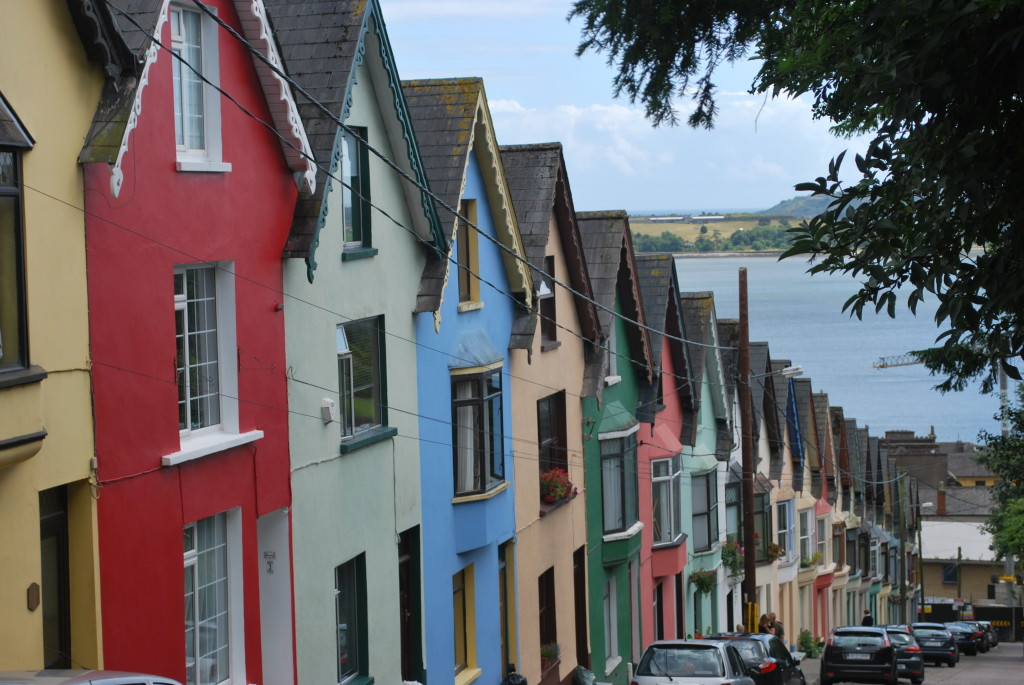 Cottages sloping down to Cobh's harbor, Ireland. * Photo: Ted Scull
