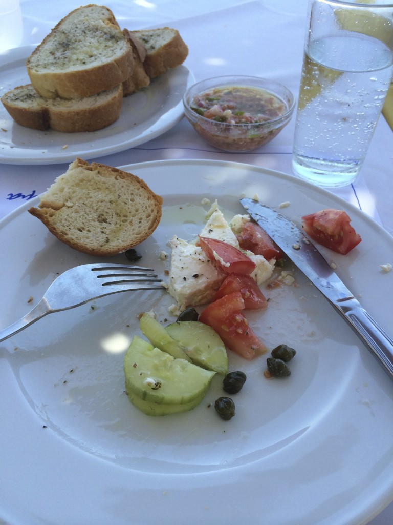 Greece is all about food — a typical lunch in port. Photo © Heidi Sarna