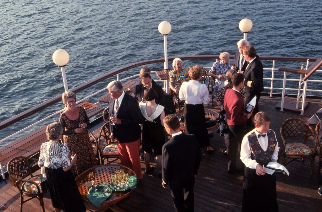 Cocktail hour on the after deck anchored off Ireland. * Photo: Ted Scull