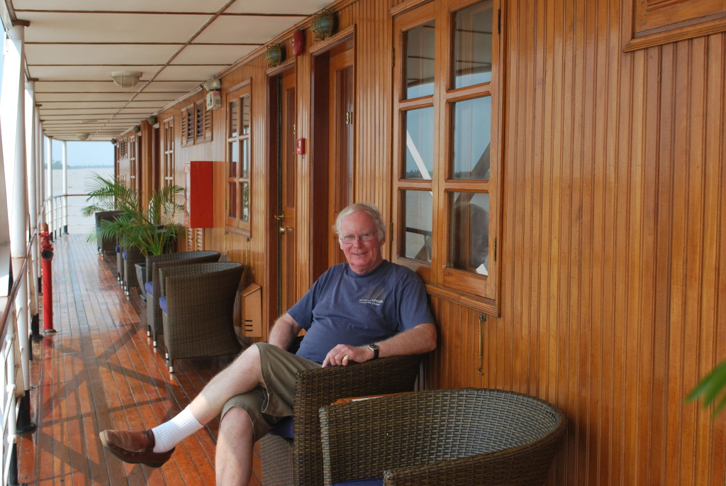 Ted sitting on the promenade outside of his cabin. Photo: © Ted Scull