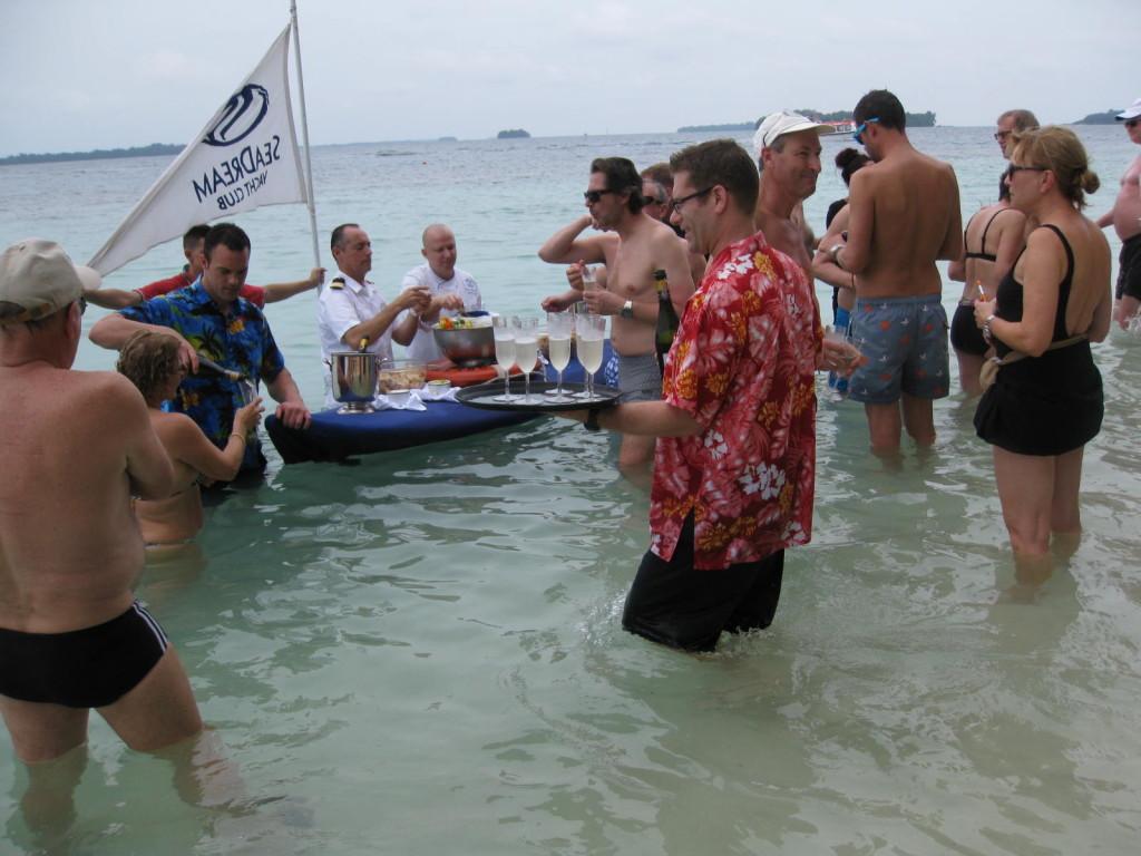 SeaDream's beloved champagne and caviar beach party. Photo credit: Heidi Sarna