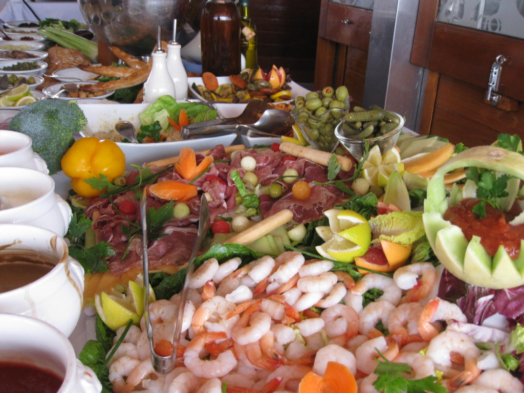 A typical delicious lunch buffet on board. Photo credit: Heidi Sarna