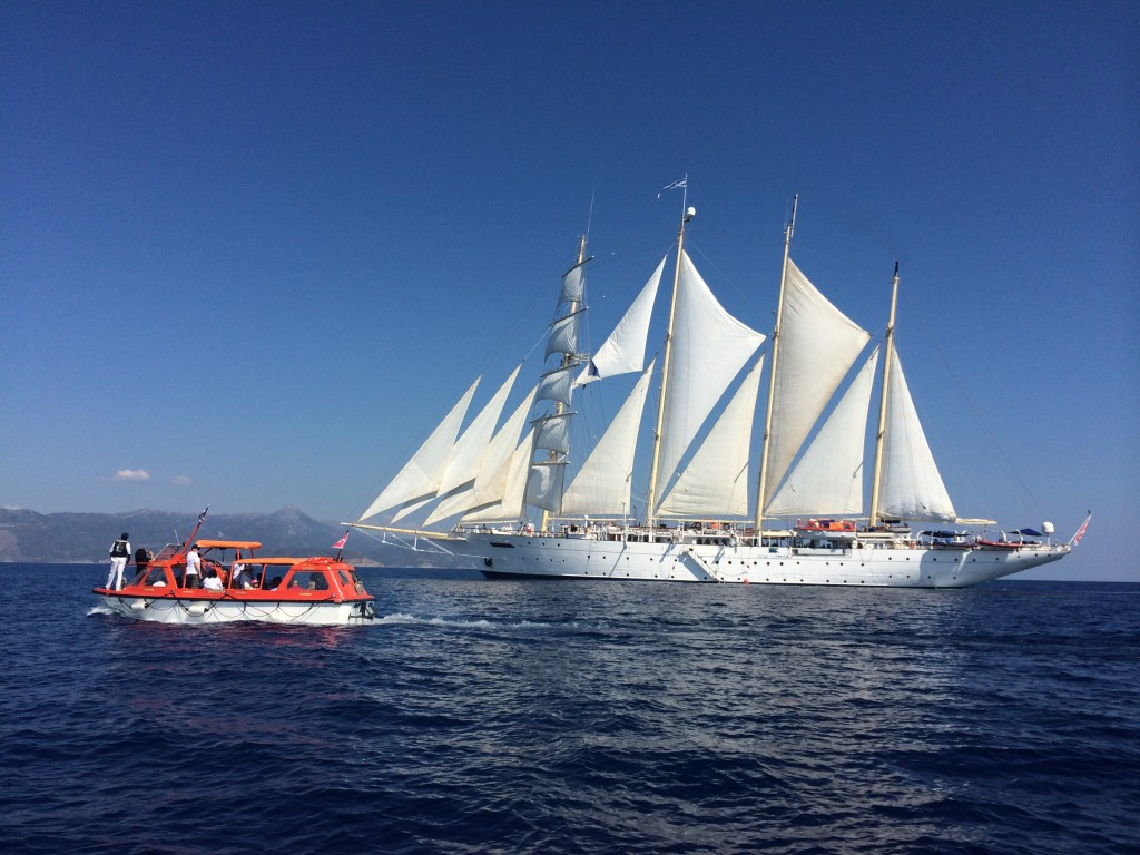 Star Clipper is a sight to behold under full sail. Photo © Heidi Sarna