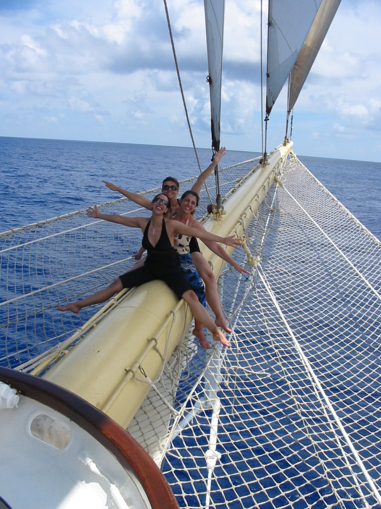 Passengers are free to climb on the bowsprit mast. Weeeeee! Photo credit: Heidi Sarna