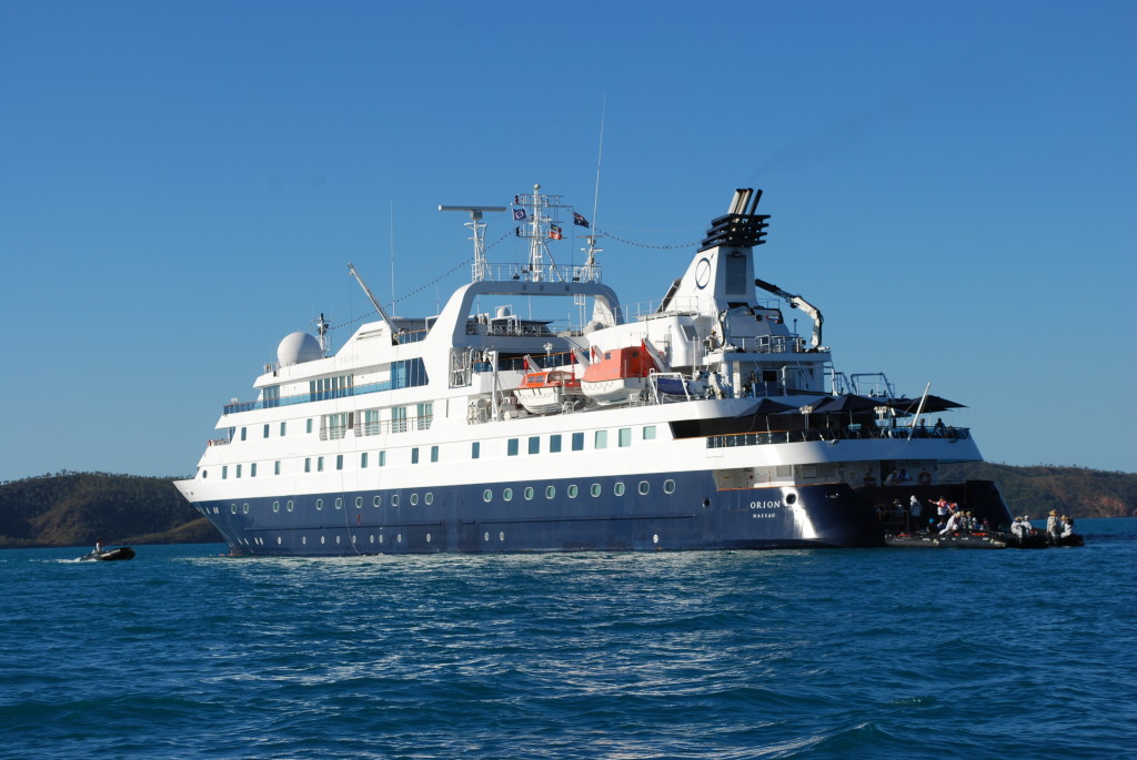 Approaching the Orion from the stern off Australia's Kimberley Coast.