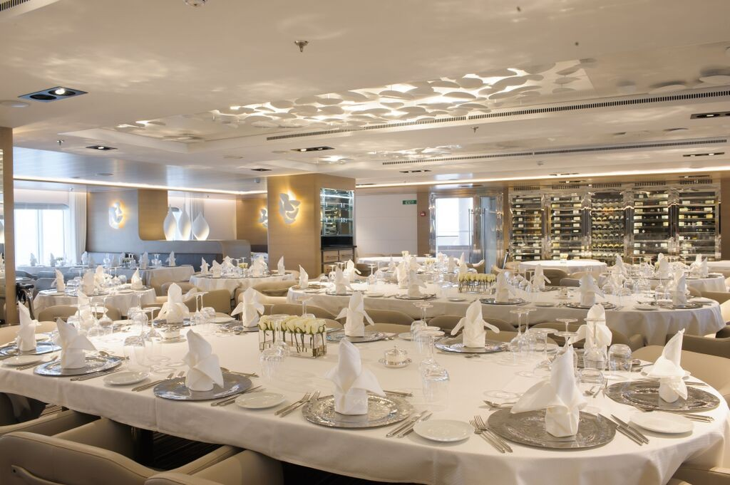 The more formal of two restaurants aboard Le Soleal. * Photo: Ponant