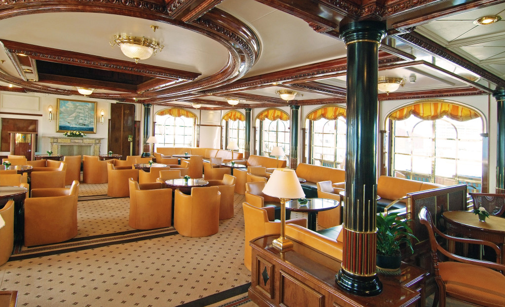 The interior lounge aboard Sea Cloud II. * Photo: Sea Cloud Cruises